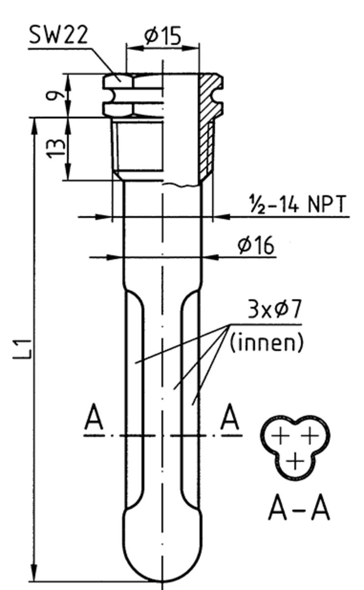 Tauchh/ülse /½ 9 mm innen 50 mm lang