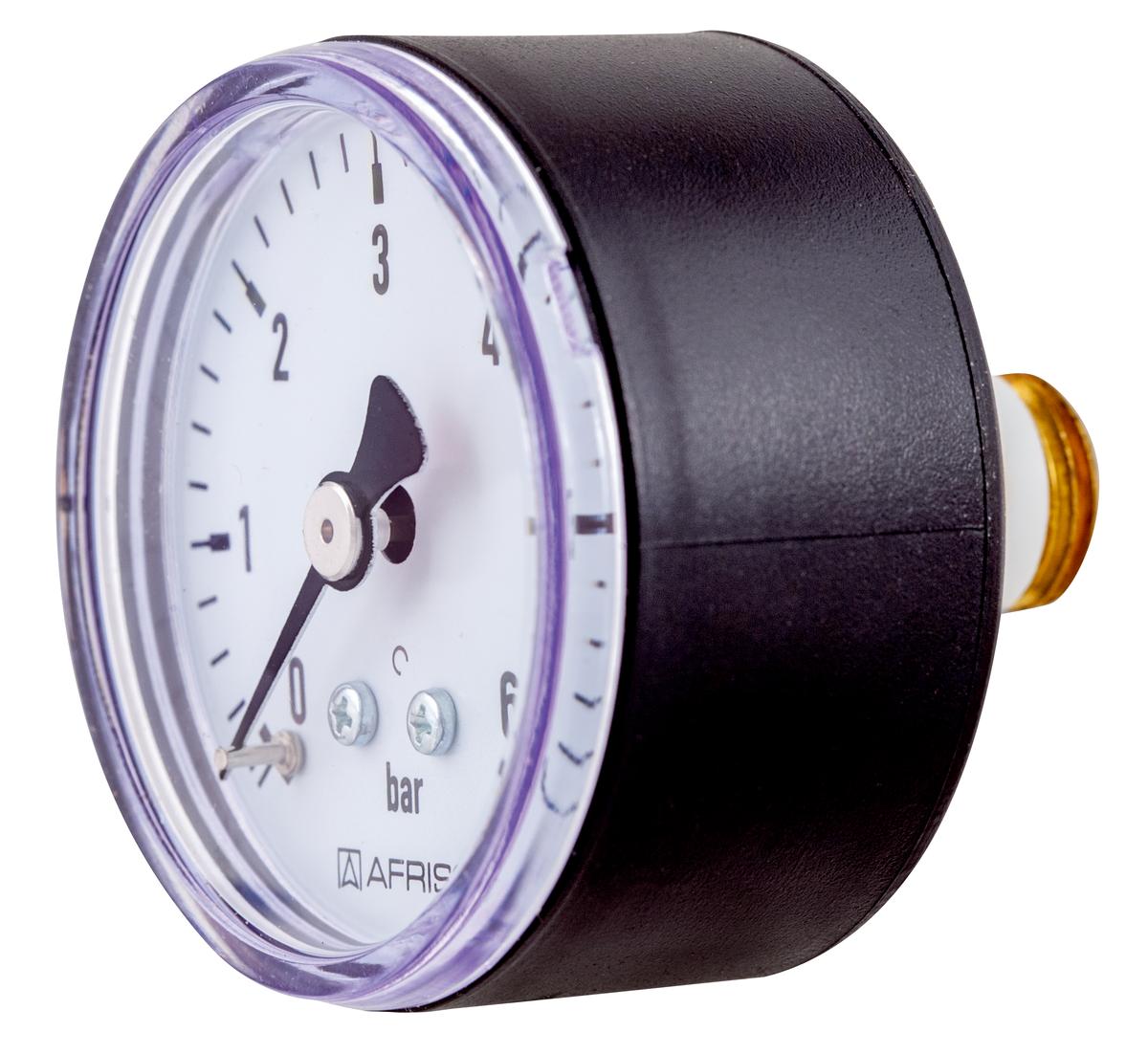 1//4 Rohrfeder-Manometer f/ür Heizung//Sanit/är DN8 3bar Markierung /Ø63mm Axial Afriso