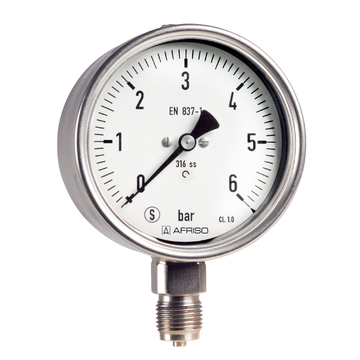 Afriso Bourdon tube safety pressure gauges Type D8 with glycerine filling
