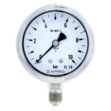Afriso Bourdon tube pressure gauges for chemical applications Type D9