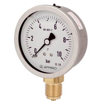 Afriso Glycerine filled Bourdon tube pressure gauges Type D7