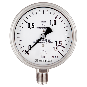 Afriso Spring-diaphragm pressure gauges for chemical applications for differential pressure - high overload protection