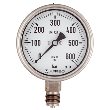 Afriso Bourdon tube pressure gauges for chemical applications Type D4