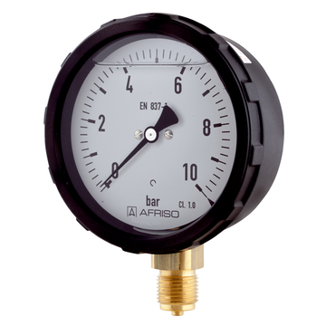 Afriso Bourdon tube pressure gauge with screw bezel housing type D6 with glycerine filling