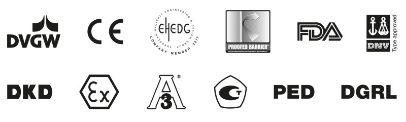 A wide variety of approvals and certificates. Stringent testing by national and international approval bodies ensures maximum reliability. The labels shown apply only to specific AFRISO products.