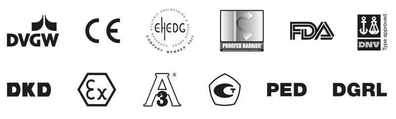 Ein breites Spektrum an Zulassungen und Zertifikaten. Strenge Prüfungen durch nationale und internationale Zulassungsstellen sorgen für maximale Zuverlässigkeit. Abgebildete Label gelten nur für bestimmte AFRISO Produkte.