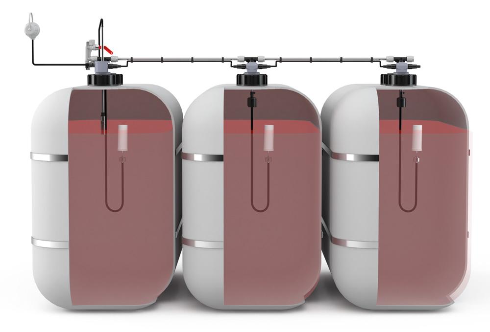 """AFRISO """"Universelle Entnahme"""" mit GWG-Kettezum Schutz gegen Überfüllschäden in nicht kommunizierendem System für Batterietanks."""